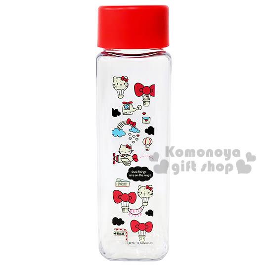 〔小禮堂〕Hello Kitty 日製隨身冷水瓶《透明.紅蓋.熱氣球.彩虹.雲.400ml》 4970825-11210