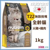 Nutram 紐頓 『 T22 無穀挑嘴全齡貓(火雞+雞肉)』 1KG 【搭嘴購】