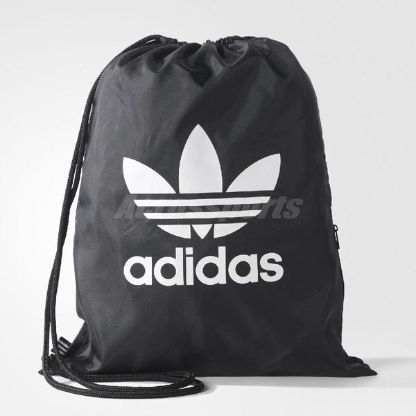 adidas 束口袋 Gymsack Trefoil 後背包 三葉草 黑白 男女款 【ACS】 BK6726