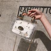 手提包  透明包包女2018新款夏天小清新手提果凍包鏈條超火斜跨仙女包  蒂小屋服飾