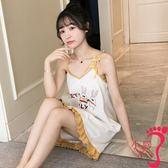 睡裙 吊帶性感睡衣女夏可愛學生棉質薄款可外穿無袖背心夏季睡裙家居服
