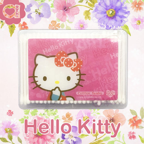Hello Kitty 凱蒂貓塑軸棉花棒200支(盒裝) 高韌性塑膠軸桿不含螢光劑 最佳使用期限至 2018/4/10
