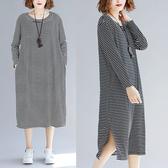 圓領配條顯瘦洋裝-中大尺碼 獨具衣格 J2425