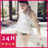 現貨★梨卡 - 嬰兒小北鼻兒童泳裝 俏皮可愛+造型頭巾[綁脖]男女小孩蕾絲三件式泳衣C494
