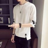 夏季男士短袖T恤韓版寬鬆5五分袖夏裝7七分袖個性衣服潮男生半袖  野外之家