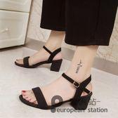 涼鞋/一字扣帶露趾女夏中跟鞋羅馬高跟女鞋子「歐洲站」