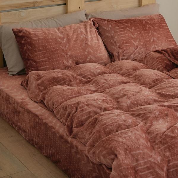 法蘭絨兩用被套床包組 雙人【Pumpkin】台灣製 法蘭絨 床包 被套 翔仔居家