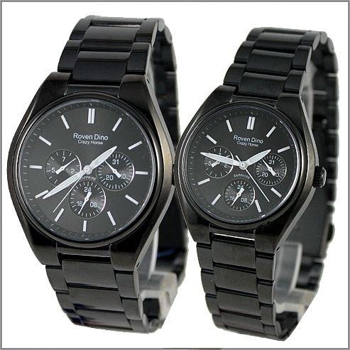 【萬年鐘錶】 Roven Dino 羅梵迪諾 楊丞琳代言 全黑白字對錶 RD9803MB-RD9803LB