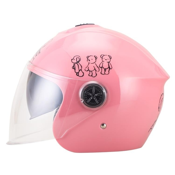 兒童頭盔雙鏡片電動摩托車頭盔四季通用保暖小孩寶寶輕便式安全帽