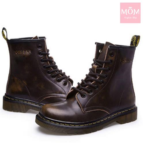 歐美經典款8孔綁帶真皮馬丁靴 短靴 工程靴  擦色棕 *MOM*