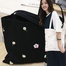 蕾絲網紗花朵刺繡帆布包/側背包/手提袋/ 2色【F929214】
