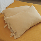 長絨棉 韓式綁帶枕套2入【暖陽黃】色織雙層紗 自由混搭 翔仔居家
