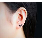 【5折超值價】最新款經典個性電鍍V字造型女款鈦鋼耳釘