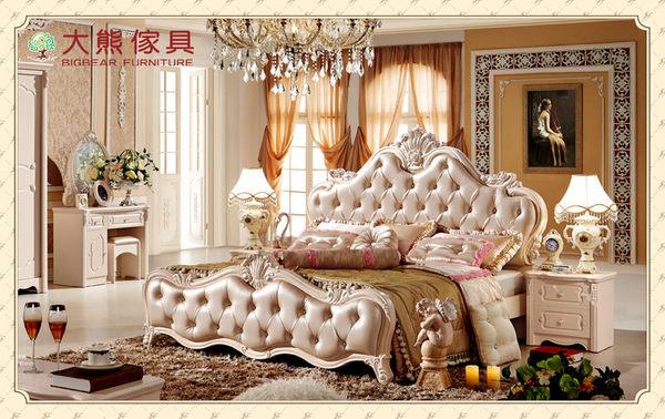 【大熊傢俱】LH FA-506 歐式床 皮床 法式 雙人床 床台 高箱床 臥室傢俱 床架 新古典