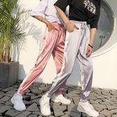夏裝女裝韓版撞色高腰休閒褲寬鬆顯瘦束腳哈倫褲運動褲九分褲長褲 東京衣秀