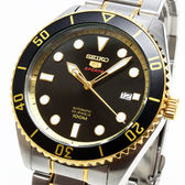[萬年鐘錶]  SEIKO 精工 5號盾牌 復刻 機械 男錶  黑+金錶面 銀殼 金+銀錶帶  44mm  4R35-02D0K (SRPB94J1)