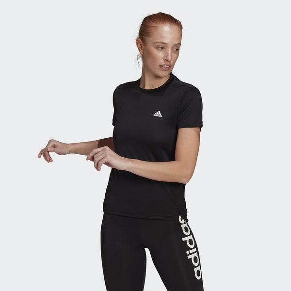 Adidas AEROREADY DESIGNED 2 MOVE 女款黑色圓領運動短袖上衣 GL3788