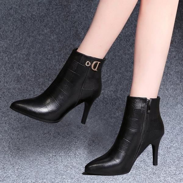 尖頭小短靴女細跟冬季2020新款韓版高跟鞋裸靴百搭黑色加絨馬丁靴 酷男精品館