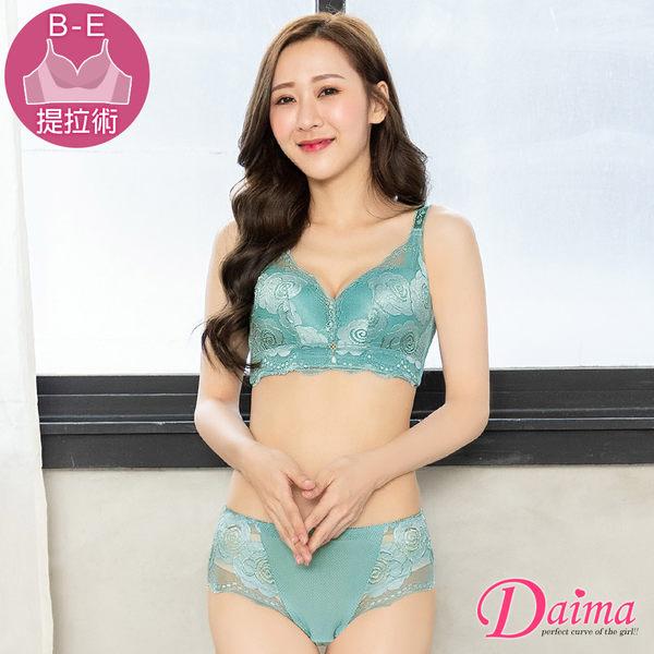 春暖花開(B-E)刺繡蕾絲透氣無鋼圈成套內衣_藍綠【Daima黛瑪】