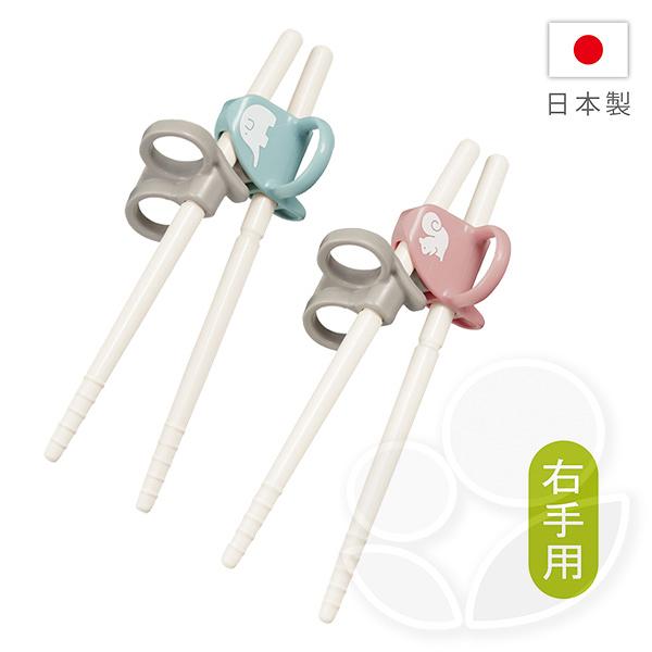 Combi 康貝 三階段彈力學習筷(右手)-大象藍/松鼠粉【贈學習筷環保收納袋】【佳兒園婦幼館】
