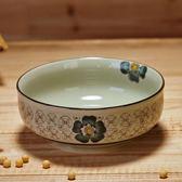 茗軒 陶瓷碗創意餐具 日式釉下彩手繪沙拉碗 5.5英寸矮腳米飯碗 年終尾牙交換禮物