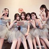 伴娘服短款新款韓式修身伴娘團姐妹裙灰色宴會晚禮服  朵拉朵衣櫥