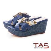 TAS 印花蝴蝶結楔型涼拖鞋-靜謐藍