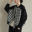 格子針織短外套 立領毛衣外套-夢想家-1023
