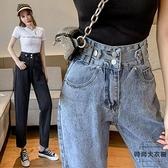 哈倫褲女直筒寬鬆高腰顯瘦蘿卜褲九分牛仔褲女潮【時尚大衣櫥】
