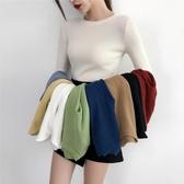 2019秋冬新款內搭套頭毛衣女白色洋氣修身緊身長袖圓領針織打底衫