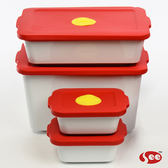 【S.E.E.】Breere會呼吸的保鮮盒(四件組/方形)-紅色