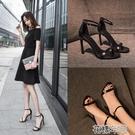 涼鞋女一字扣夏季新款細跟夜場百搭黑色小清新高跟鞋少女 花樣年華