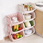 家用塑料收納筐廚房果蔬收納籃3層 蔬菜籃子大號置物架蔬菜收納筐