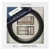 CalvinKlein 質感金屬雙釦雙色皮帶禮盒(咖啡色-含帕巾)103401-8