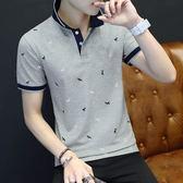 夏季男士polo衫短袖翻領t恤青年男裝夏裝襯衫領純棉印花短袖潮流