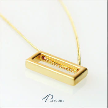 項鍊 長方中空幾何造型 金色 銀色 正韓現貨