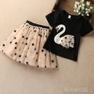 女童短袖連衣裙夏季兒童公主裙子星星紗裙蓬蓬裙洋氣二件套仙女裙 洛小仙女鞋