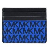 【南紡購物中心】MICHAEL KORS HARRISON浮雕滿版LOGO名片夾-藍