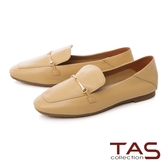TAS一字金屬釦羊皮樂福鞋–低調黃