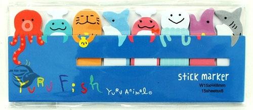【金玉堂文具】STICK MARKER 造型便利貼 海洋動物篇-章魚 海獺 鯊魚 HT1210-365(藍) 標籤貼