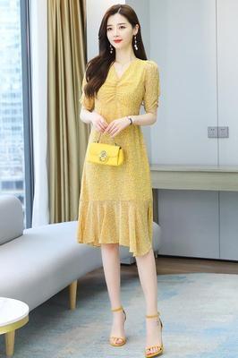 洋裝大碼雪紡連身裙身服桔梗可鹽可甜連身裙子超仙女森系1F-105 胖妹大碼女裝