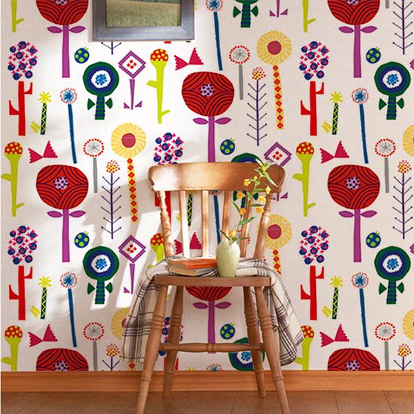 【日本製壁紙】[WALLTZ] Naoko Horiguchi 【訂貨單位47cm×6m/卷】花草 兒童房 hana Colorful