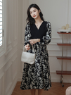 VK精品服飾 韓系雪紡拼接V領時尚印花收腰優雅長袖洋裝