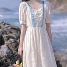 方領洋裝 2021夏季新款法式宮廷風小心機氣質長裙溫柔初戀少女茶歇裙連身裙 寶貝 免運