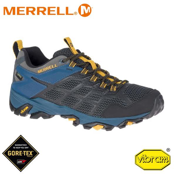 【MERRELL 美國 男 Moab Fst 2 Gore-Tex 低筒登山鞋《深灰/深藍》】48681/登山鞋/健行鞋/低筒靴