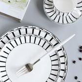 黑白北歐風輕薄細致骨瓷餐盤10寸西餐牛排盤創意陶瓷盤子菜盤家用 挪威森林