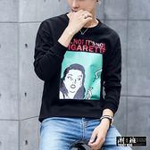 『潮段班』【HJ001241】韓版簡約印花圓領長袖T恤