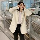 小西裝外套女2020新款春秋韓版寬鬆白色網紅設計感小個子炸街西服 【草莓妞妞】