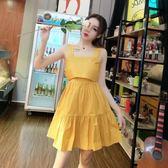 快速出貨 韓版2019夏新款氣質時尚后背綁蝴蝶結漏背小洋裝度假溫柔風洋裝