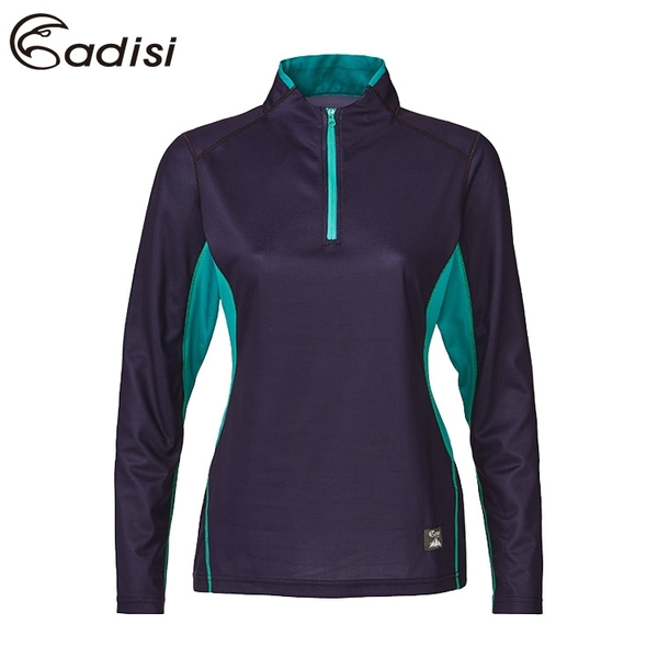 ADISI 女智能纖維速乾半門襟長袖排汗衣AL1821134 (S-2XL) / 城市綠洲 (PP紗、導濕速乾、保暖、彈力)